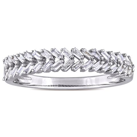 Miadora 14k White Gold 1/3ct TDW Tapered Baguette Diamond Braided Design Band