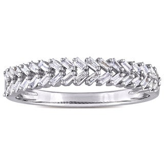 Miadora 14k White Gold 1/3ct TDW Tapered Baguette Diamond Braided Design Semi-Eternity Band (G-H, I1-I2)