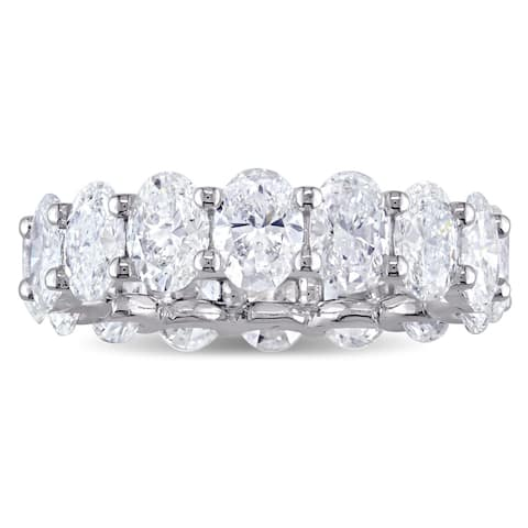 Miadora Signature Collection 18k White Gold 1ct TDW Oval-Cut Diamond Full Eternity Band