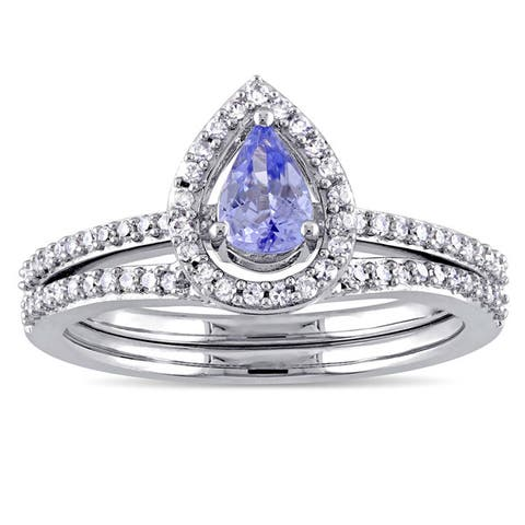 Miadora Signature Collection 10k White Gold Pear-Cut Tanzanite and 1/3ct TDW Diamond Halo Bridal Set - Blue