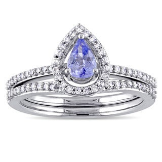 Miadora Signature Collection 10k White Gold Pear-Cut Tanzanite and 1/3ct TDW Diamond Halo Bridal Set (G-H, I2-I3)