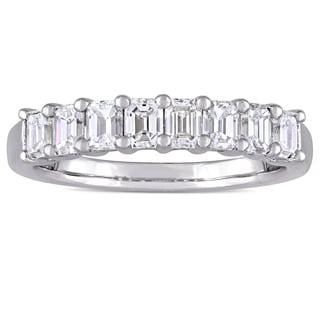 Miadora Signature Collection 14k White Gold 1ct TDW Diamond Semi-Eternity Band