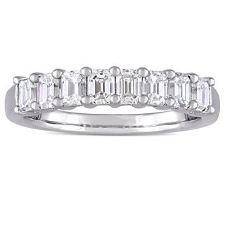 Miadora Signature Collection 14k White Gold 1ct TDW Diamond Semi-Eternity Band