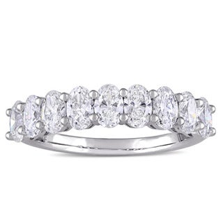Miadora Signature Collection 14k White Gold 1-4/5ct TDW Oval-Cut Diamond Semi-Eternity Band (F-G, VS1-SI1)