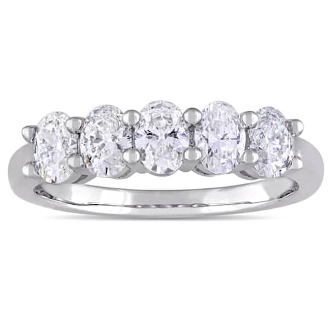 Miadora Signature Collection 14k White Gold 1 5/8ct TDW Oval-cut Diamond Anniversary Band Ring