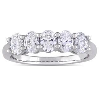 Miadora Signature Collection 14k White Gold 1 5/8ct TDW Oval-cut Diamond Anniversary Band Ring