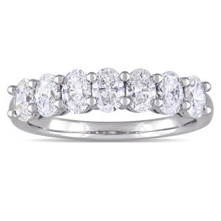 Miadora Signature Collection 14k White Gold 1-1/3ct TDW Oval-Cut Diamond 7-Stone Semi-Eternity Band (F-G, SI1-SI2)