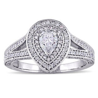Miadora Signature Collection 14k White Gold 1ct Pear-Cut Diamond Double Halo Split Shank Engagement Ring (G-H,I2-I3)