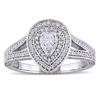 Miadora Signature Collection 14k White Gold 1ct Pear-cut Diamond Double Halo Split Shank Engagement Ring