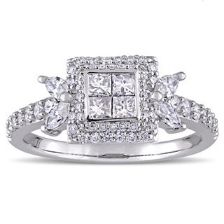 Miadora Signature Collection 14k White Gold 1ct TDW Multi-Shaped Diamond Quad Center Engagement Ring (G-H, I1-I2)