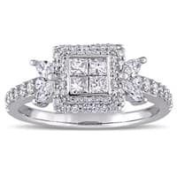 Miadora Signature Collection 14k White Gold 1ct TDW Multi-Shaped Diamond Quad Center Engagement Ring