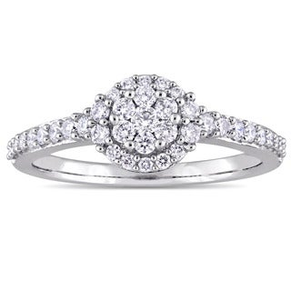Miadora 14k White Gold 1/2ct TDW Diamond Floral Cluster Halo Engagement Ring