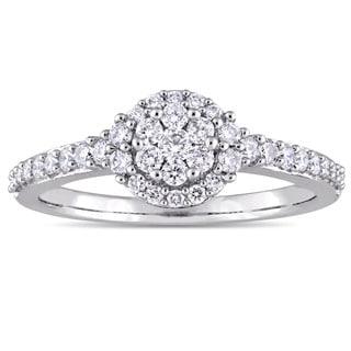 Miadora 14k White Gold 1/2ct TDW Diamond Floral Cluster Halo Engagement Ring (G-H, I1-I2)