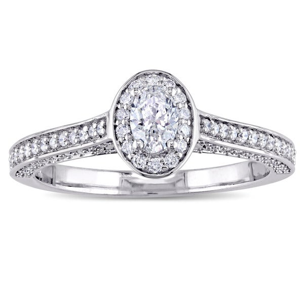 Miadora Signature Collection 14k White Gold 3/4ct TDW Oval and Round-Cut Diamond Halo Engagement Rin