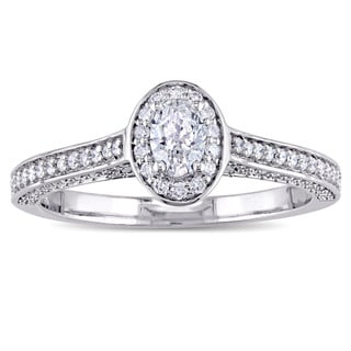 Miadora Signature Collection 14k White Gold 3/4ct TDW Oval and Round-Cut Diamond Halo Engagement Ring (G-H, I1-I2)
