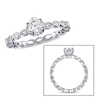 Miadora Signature Collection 14k White Gold 1/2ct TDW Diamond Halo Infinity Engagement Ring