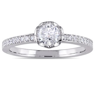 Miadora Signature Collection 14k White Gold 5/8ct TDW Diamond Floral Engagement Ring