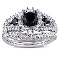 Miadora Signature Collection 10k White Gold Black Rhodium 2ct TDW Black and White Diamond Split Shan