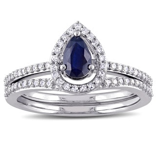 Miadora Signature Collection 10k White Gold 1/3ct TDW Diamond and Pear-Cut Diffused Sapphire Halo Bridal Set (G-H, I2-I3)