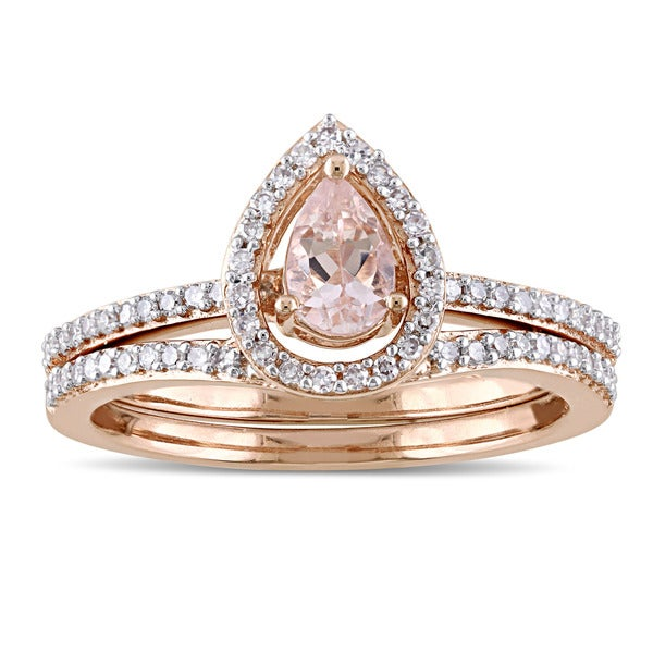 a44fc926a Miadora Signature Collection 10k Rose Gold Pear-Cut Morganite and 1/3ct TDW  Diamond