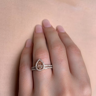 Miadora Signature Collection 10k Rose Gold Pear-Cut Morganite and 1/3ct TDW Diamond Halo Bridal Set (G-H, I2-I3)