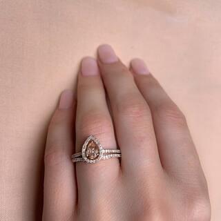 Miadora Signature Collection 10k Rose Gold Pear-Cut Morganite and 1/3ct TDW Diamond Halo Bridal Set|https://ak1.ostkcdn.com/images/products/13739712/P20397655.jpg?impolicy=medium