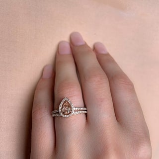 Miadora Signature Collection 10k Rose Gold Pear-Cut Morganite and 1/3ct TDW Diamond Halo Bridal Set - Pink