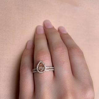 Miadora Signature Collection 10k Rose Gold Pear Cut Morganite And 1 3ct TDW Diamond