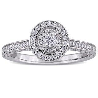 Miadora Signature Collection 14k White Gold 5/8ct TDW Diamond Double Halo Engagement Ring