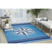 Waverly Sun and Shade Blue Indoor/ Outdoor Area Rug by Nourison (7'9 x 10'10) - 7'9 x 10'10