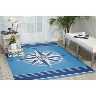 Waverly Sun and Shade Blue Indoor/ Outdoor Area Rug by Nourison (7'9 x 10'10)