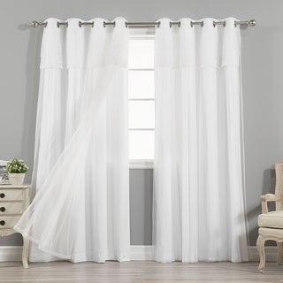 Aurora Home Mix & Match Nordic White Privacy and Sheer 4 Piece Curtain Panel Set