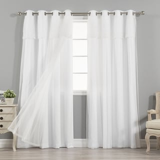 aurora home mix u0026 match curtains nordic white privacy and sheer grommet curtain panel pair