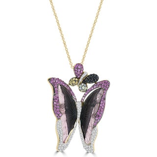 La Vita Vital 18k Yellow Gold 16 2/5ct Tourmaline Sapphire and Diamond Butterfly Necklace (G-H, SI1-SI2)