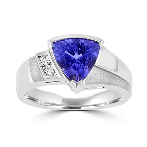 La Vita Vital 18k White Gold 1 7/8 ct Trillion-cut Tanzanite and Diamond Accent Ring