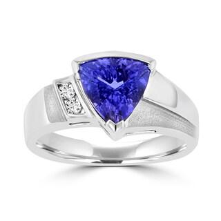 La Vita Vital 18k White Gold 1 7/8 ct Trillion-cut Tanzanite and Diamond Accent Ring (SI1-SI2, G-H)