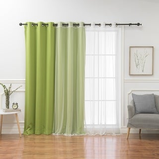 Aurora Home Mix & Match Wide Width Blackout with Tulle Lace Sheer 4-piece Bronze Grommet Curtain Set