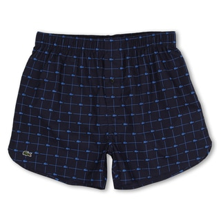 Lacoste Men's Navy Cotton Woven Croc-Print Boxer