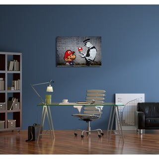 "Banksy ""Mario Caught Speeding"" Gallery Wrapped Canvas Wall Art"