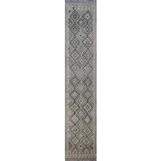Kilim Marjan Beige/Grey Wool Hand-knotted Runner Rug (2'7 x 13'5)