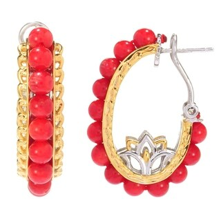 Michael Valitutti Palladium Silver Red Bamboo Coral Bead and Flower Detailed Hoop Earrings