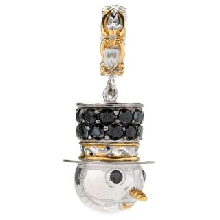 Michael Valitutti Palladium Silver Black Spinel Snowman Drop Charm