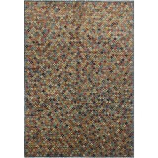 Baluchi Qalamqas Ivory/Blue Wool Rug (6'7 x 9'5)
