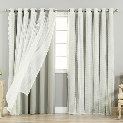 """Aurora Home Mix & Match Extra Wide Blackout and Dot Lace Sheer 2 Piece Curtain Panel Set - 52""""W x 84""""L - 52""""W x 84""""L"""