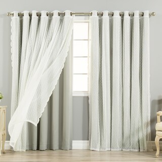 """Aurora Home Mix & Match Extra Wide Blackout and Dot Lace Sheer 4 Piece Curtain Panel Set - 52""""W x 84""""L"""