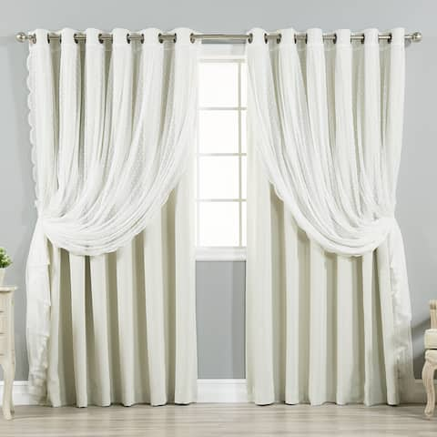 """Aurora Home Mix & Match Extra Wide Blackout and Dot Lace Sheer 2 Piece Curtain Panel Set - 52""""W x 84""""L"""