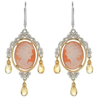 Michael Valitutti Palladium Silver Carved Shell Cameo and Briolette Citrine Dangle Earrings