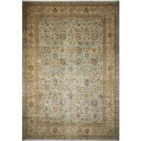 Turkish-Knotted Morvarid Light Blue, Beige Rug (10'0 x 14'2) - 10'0 x 14'2