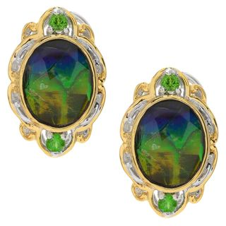 Michael Valitutti Palladium Silver Ammolite Triplet & Chrome Diopside Earrings w/ Omega Backs