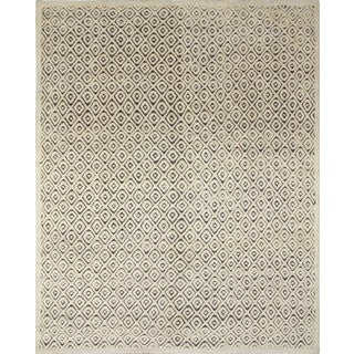 Indo Moroccan Shinar Ivory/Dark Brown Wool Rug (8'1 x 9'10)